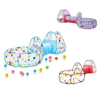 Children's Tent Game House 3 In 1 Tunnel Baby Toy Folding Shot Marine Ball Pool