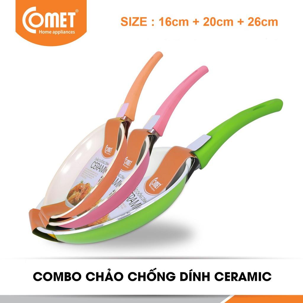 Bộ combo 03 chảo chống dính Ceramic cao cấp COMET Size 16cm, 20cm, 26cm