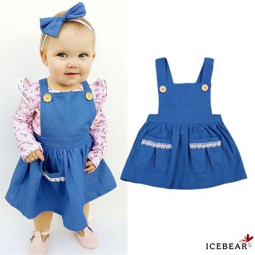 EE0-Lovely Kids Baby Girls Summer Casual Denim Dress Princess Party Dresses