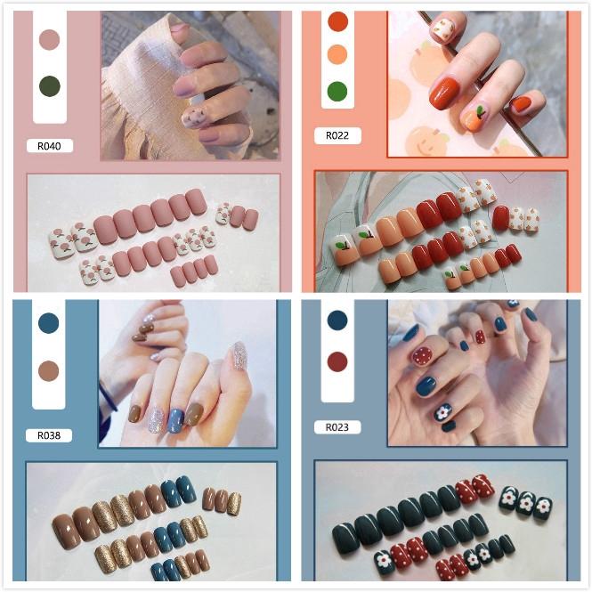 Bộ 24 móng tay giả màu trơn xinh xắn