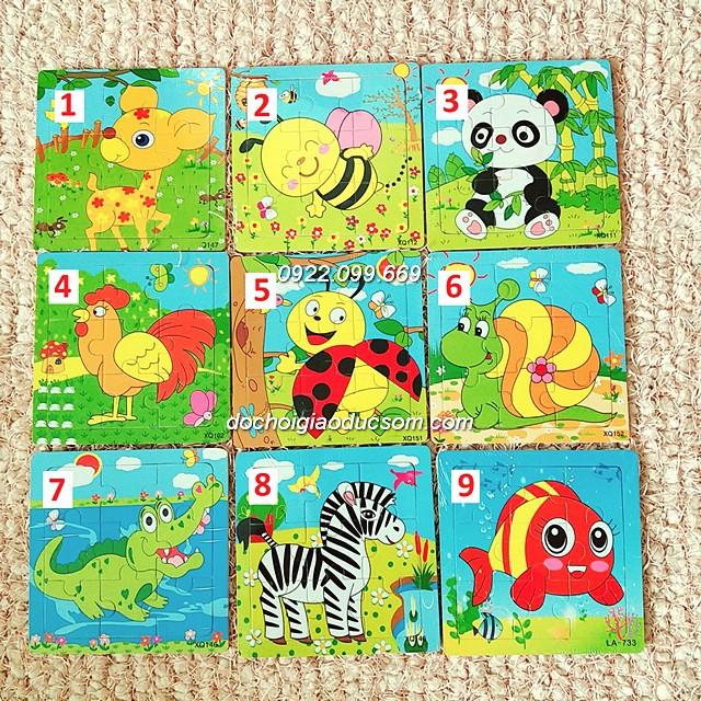 Ghép hình puzzle 9 miếng (9 mảnh) gỗ - Hình con vật từ số 1 đến 19