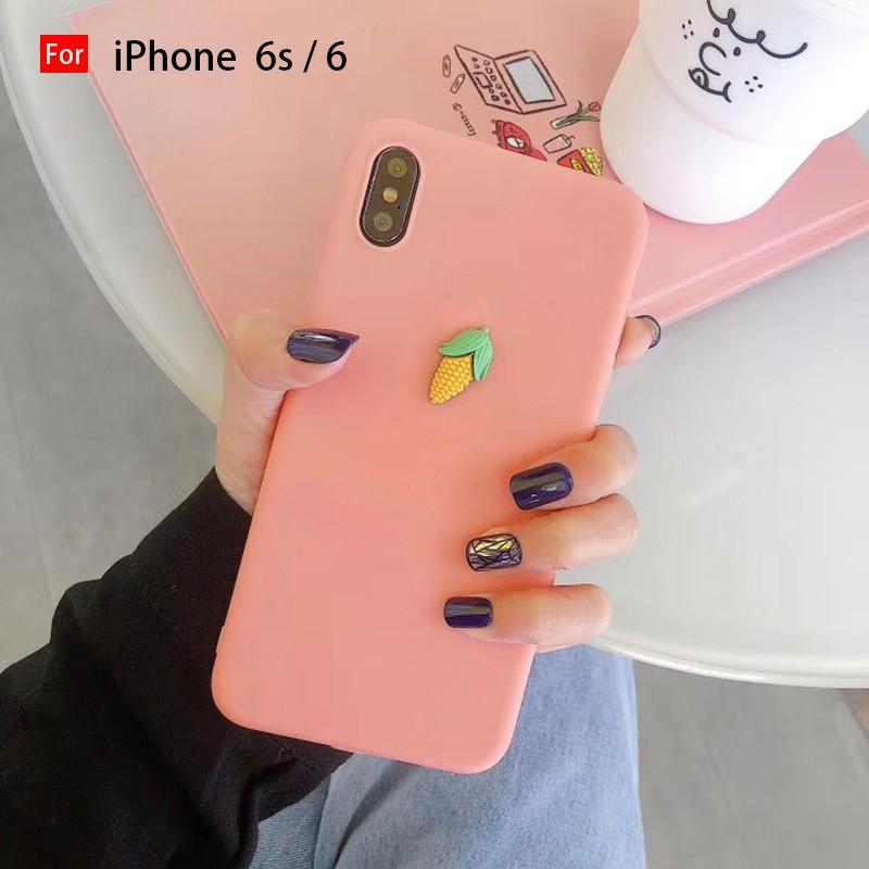 FREESHIP 50K Ốp điện thoại PC + TPU màu trơn trang trí hình trái cây 3D dễ thương cho Iphone 6 6S 6+ 6S+ 7 8 7+ 8+