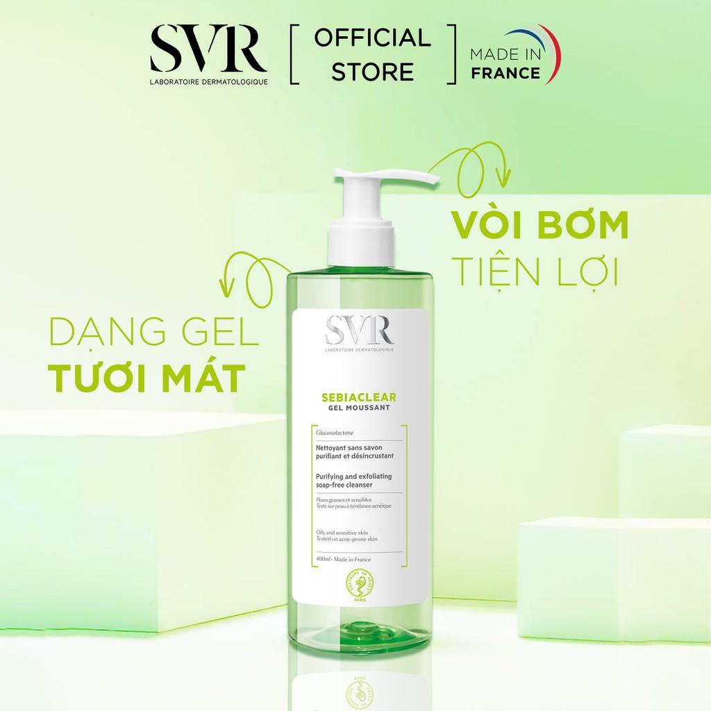Gel rửa mặt không có xà phòng, làm sạch và loại bỏ tế bào da chết SVR  SEBIACLEAR Gel Moussant 400ml - Sạch nhờn, ngừa mụn   ALamDep.com