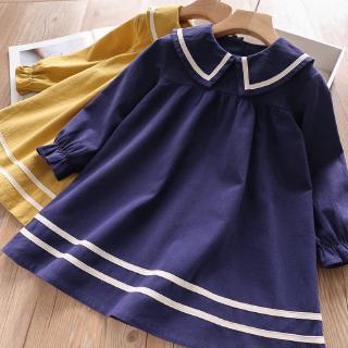 Đầm tay dài ống phồng màu trơn thời trang xuân thu cho bé gái AZ2199