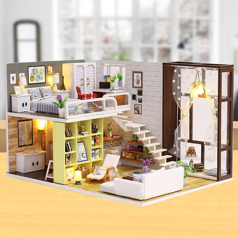 Bộ mô hình lắp ghép DIY – Ngôi nhà búp bê (tặng mica, keo dán)