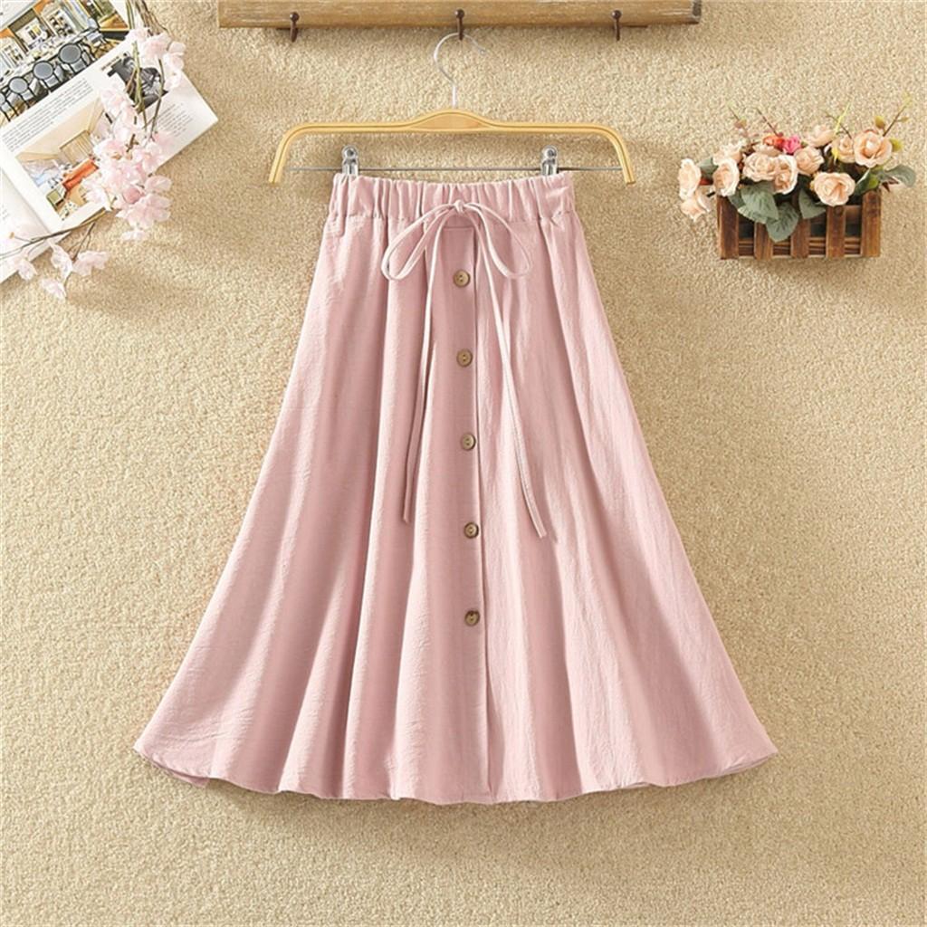 2082117442 - Chân váy dài màu trơn thời trang nữ tính