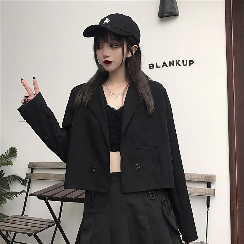 Áo blazer croptop đen - Hàng ORDER nhắn shop trước khi đặt