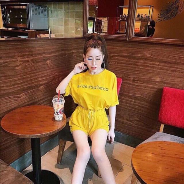 Sét áo thun + quần short 2 màu như hình