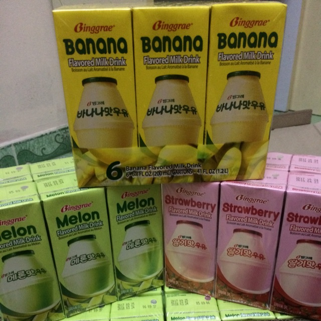 |Lốc 6 Hộp sữa Hàn| Sữa chuối Binggrea 200ml(Melon,Banana,Strawberry )