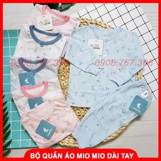 [Mio Cotton] Bộ Quần Áo Dài Tay Miomio Cho Bé Sơ Sinh Chất Cotton Mềm Mại Size 1M, 3M, 6M, 12M