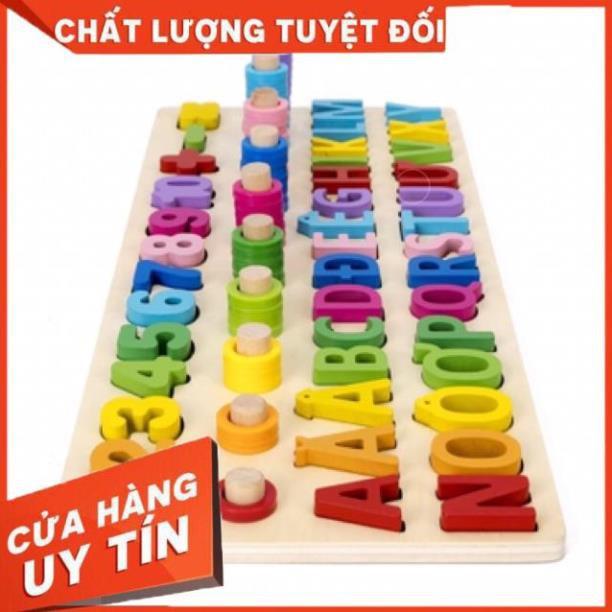 Đồ chơi gỗ vivitoy bảng chữ cái, bảng số và cột thả vòng