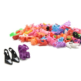 [BUDD&vn] Randomly 40 Pairs Doll Shoes Assorted Colorful Heels for Barbies Outfit Dress