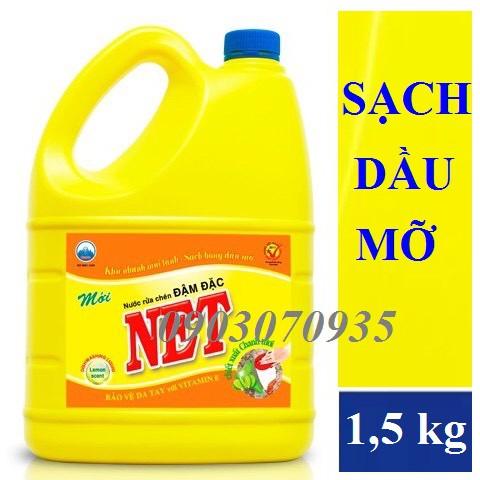 Nước rửa Chén ĐẬM ĐẶC NET Hương chanh 1,5kg Hàng khuyến mãi có dính keo