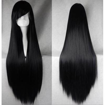 Tóc giả - Wig Đen Cosplay Cơ Bản 80cm TẶNG WIGCAP