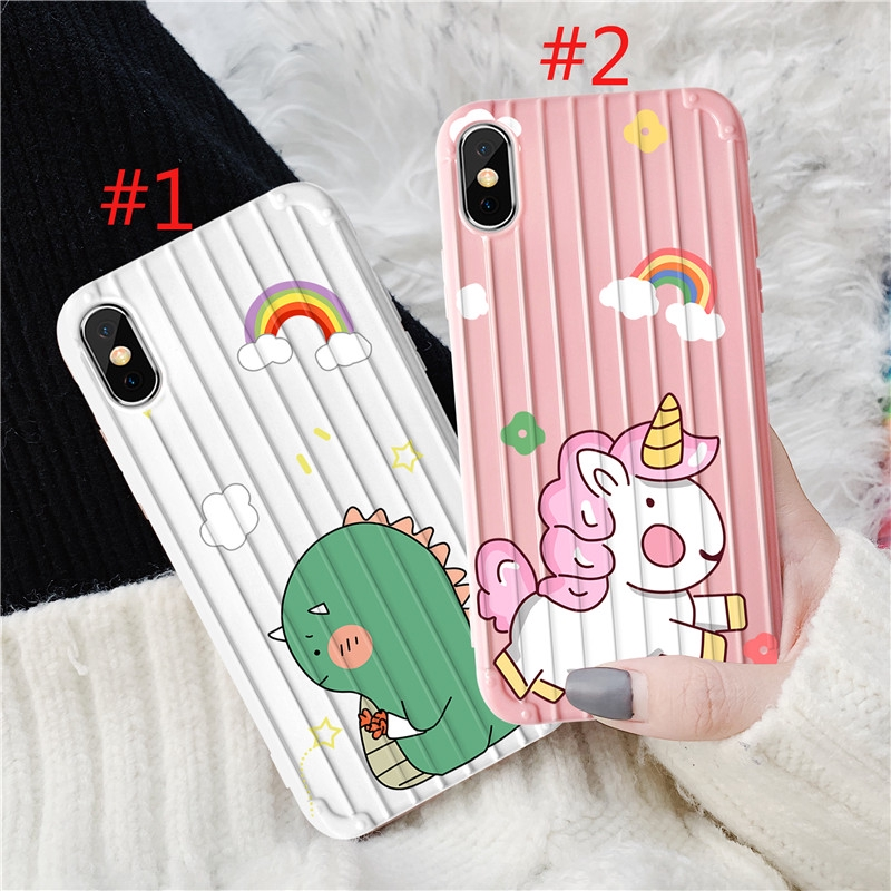 iPhone 6 6s 7 8 6plus 8plus XR X XS Fashion Cute Dinosaur Pattern Shockproof Style Full Cover Casing