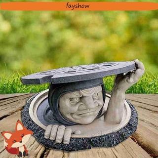 FAY Patio Garden Statue Two-tone Outdoor & Indoor The Dweller Below Garden Decor Lawn Housewarming Garden Gift Yard Art Decoration Resin Sculpture Yard Sculptures