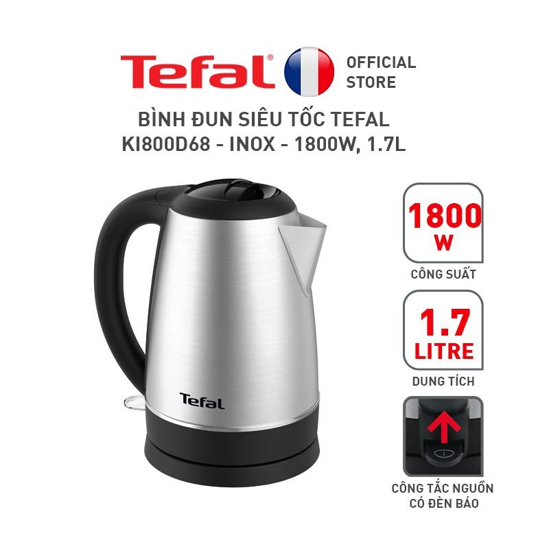 Bình đun siêu tốc Tefal KI800D68 – inox – 1800W, 1.7L