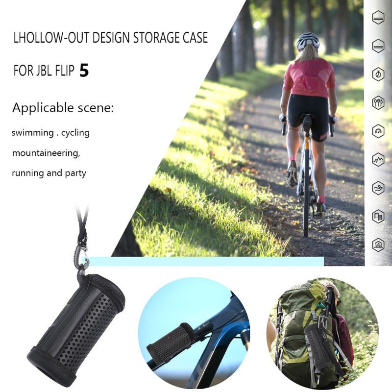 CRE  Hollowed Mesh Protective Hard Case Cover Bag Box for Flip4 Flip 5 Waterproof Bluetooth Speaker