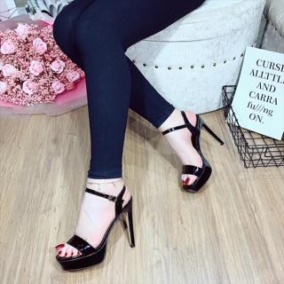 [Siêu sale giá gốc] Giày sandal cao gót đúp mũi gót nhọn 12p qui ngang
