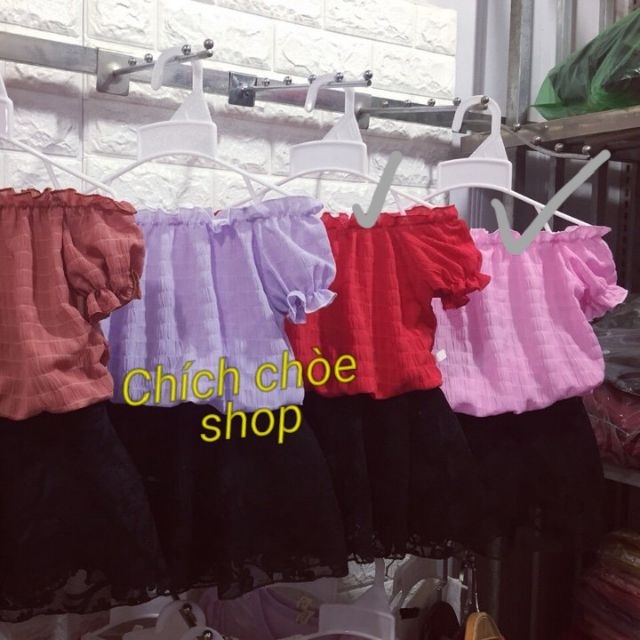 151672384 - Sét áo đũi trễ vai chân váy ren bé gái 1-5 (10-20kg) đỏ, hồng