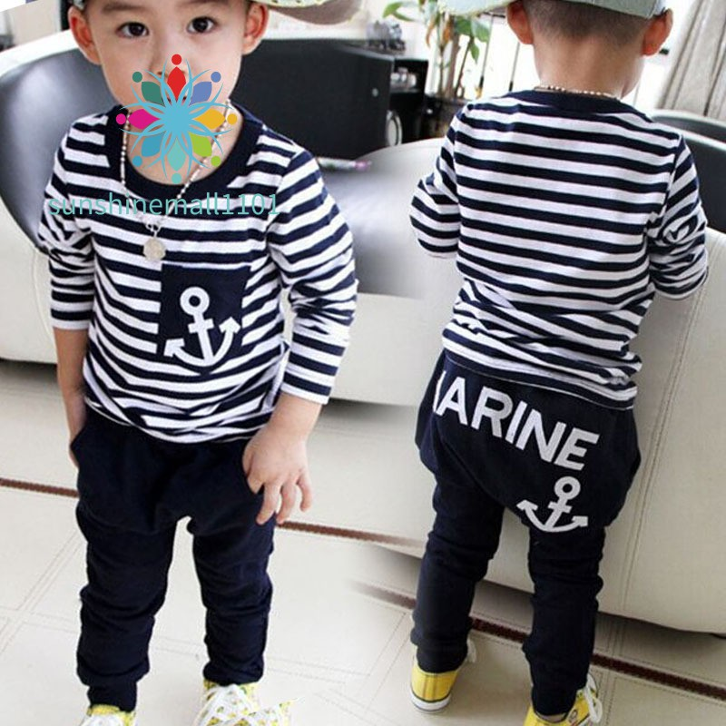 SM01 New Spring Kids Clothes Navy Long Sleeve Pullover Striped Sports Suit Casual Boys Clothing Set