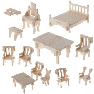 DE❀ 3D Wooden Puzzle DIY 34 Pcs Miniature 1:12 Dollhouse Furniture for Doll Building Model Children's