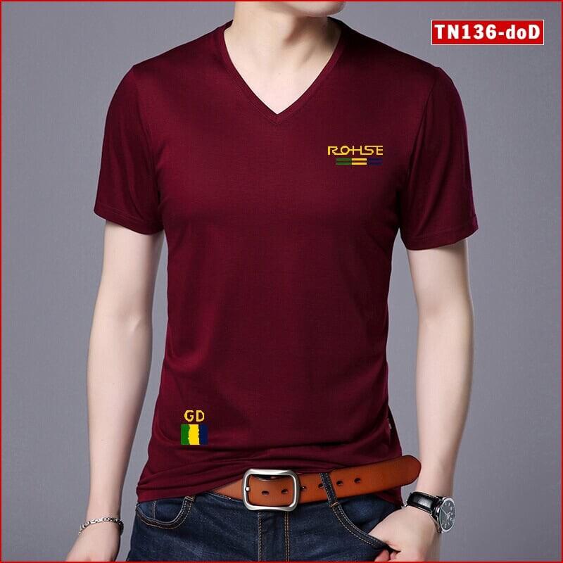 Áo thun nam cổ tim TN136 ROHSE nhiều màu sắc sợi tre tổng hợp đẹp