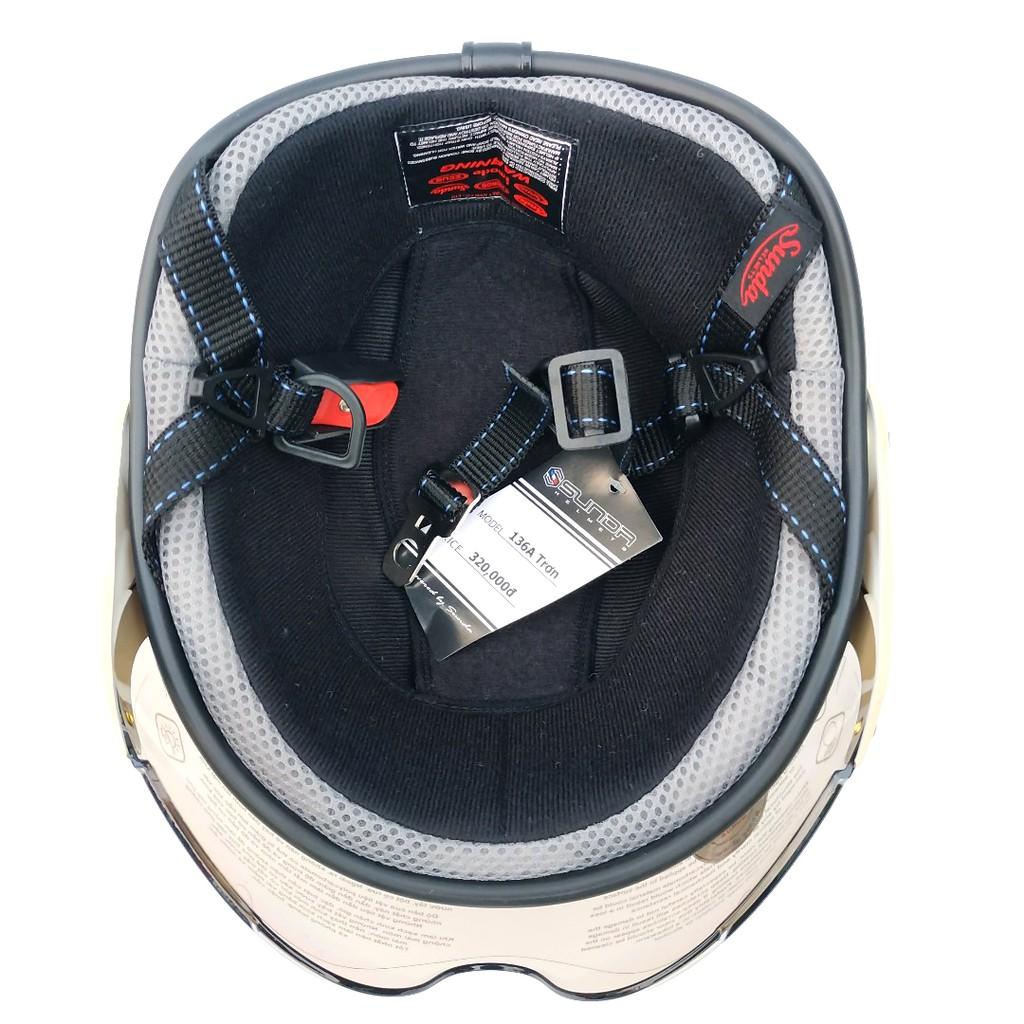 Nón bảo hiểm nửa đầu chính hãng Sunda 136 có kính - mũ bảo hiểm nửa đầu có kính xịn nhất thị trường, bảo hành 12 tháng