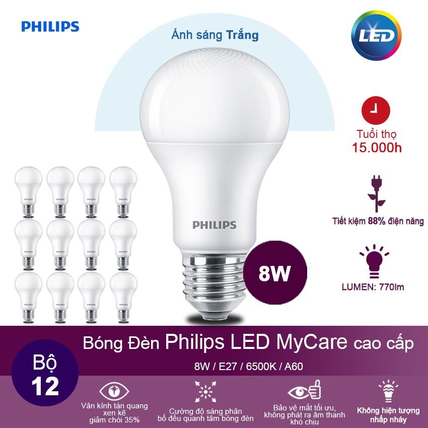 Bộ 12 Bóng đèn Philips LED MyCare 8W 6500K E27 A60 - Ánh sáng trắng