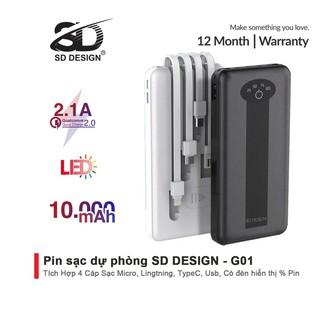 Sạc dự phòng chính hãng SD DESIGN G01 dung lượng 10.000 mAh có đầy đủ chân sạc cho iphone, samsung, xiaomi,... thumbnail