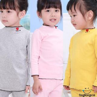 ✿ℛSolid ColorNewborn Kids Baby Girl Boy Cotton Autumn Love Print Round Neck Long Sleeve Tops