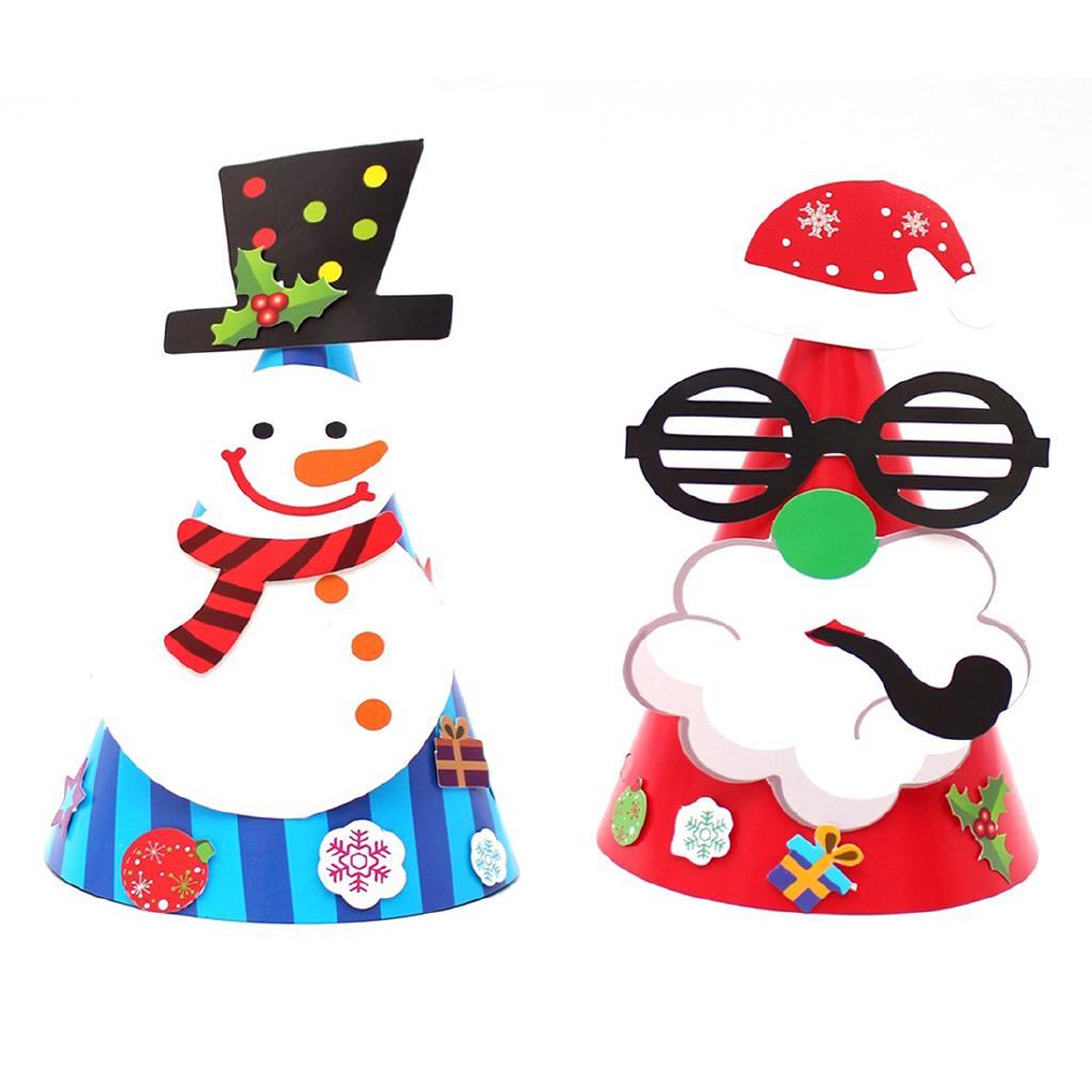 Christmas Cap Children Kindergarten Paper Cartoon Snowman Hat Party Decor