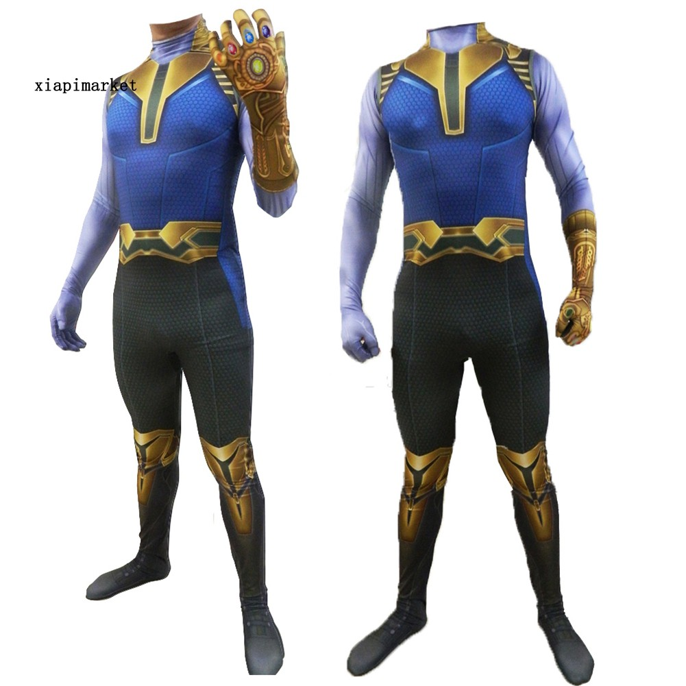 XP_Marvel Avengers Thanos Full Body Jumpsuit Kids Adult Men Party Cosplay Costume