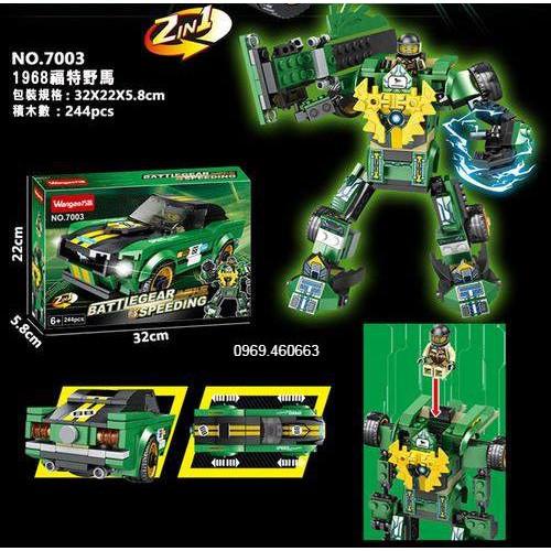 Xếp Hình Lego Chiến Binh Robot + Siêu xe 2 in 1 Màu xanh Lam. Lego Đồ chơi lắp ráp cho bé