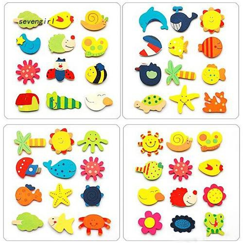 〖MO〗12 Pcs Cute Cartoon Pattern Wood Fridge Magnet Stickers Kids Educational Toy