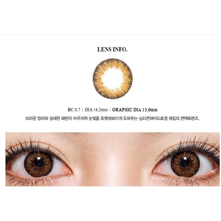 [CAM KẾT CHÍNH HÃNG] Kính áp tròng Hàn Quốc BLUE EYES GEMSTONE BROWN - Lens Premium Silicone Hydrogel
