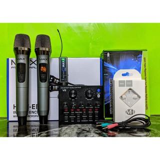 Trọn combo karaoke thu âm livestream siêu hot micro max 39 và sound card V8 tặng kèm tai nghe Hoco M1 và dây live MA2 thumbnail