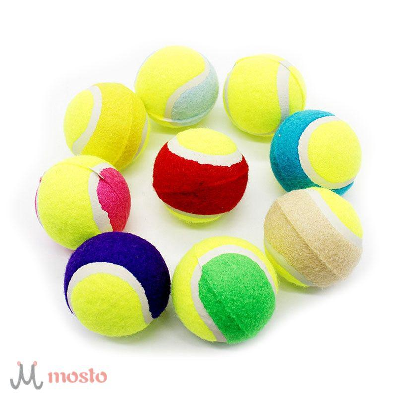 Pet Chewing Natural Rubber Tennis Ball Safe Resistant Bouncy Ball Toy [MO]