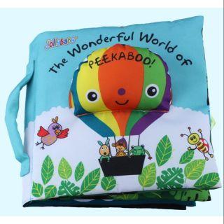 Sách vải tiếng Anh tương tác ú òa Jollybaby The wonderful world of Peekaboo