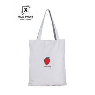 Túi Vải Đeo Vai Tote Bag Trái Dâu XinhStore