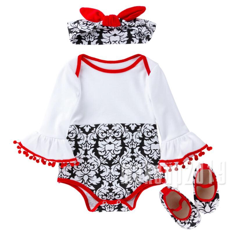 Mu♫-Lovely Newborn Baby Girl Warm Clothes Autumn Spring Long Sleeve White Tops Romper Floral Printed Jumpsuit+1 Pair Of