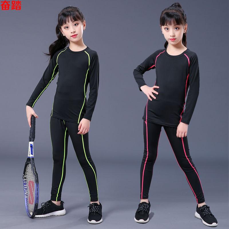 ∏Quần tất trẻ em, bộ đồ thể thao dài tay, tập cho bé gái có đế thun, yoga thoáng khí và nhanh khô, dục chạy