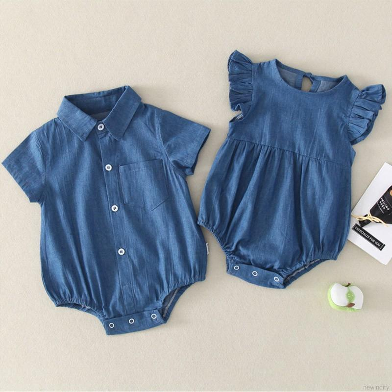 Summer Baby Girls Boys Short-sleeved Cowboy Romper Korean Style Jumpsuit Kids One-pieces Cl