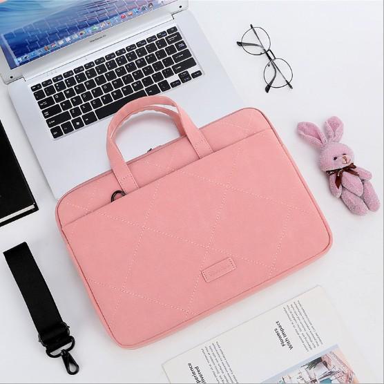 Túi chống sốc laptop da lộn caro kèm móc gấu xinh xắn TG30