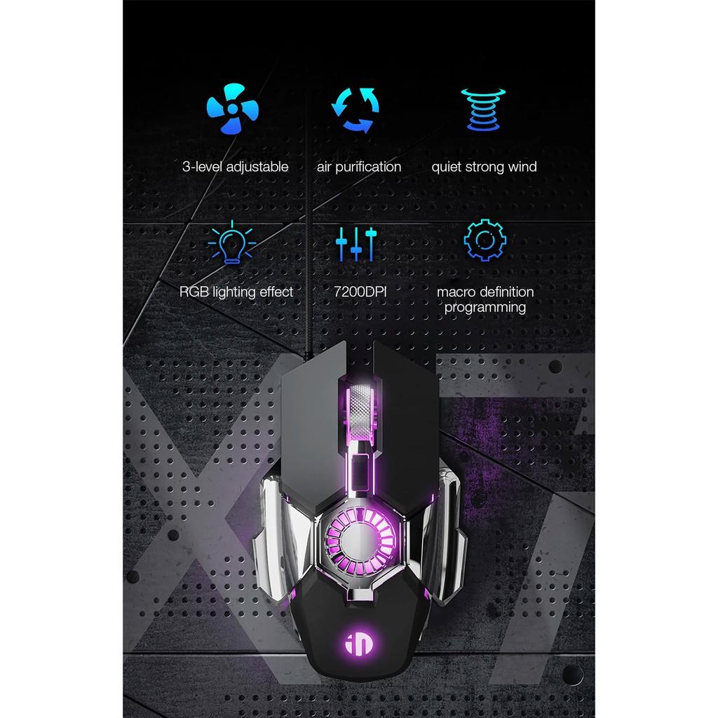 Chuột chơi game quang học quạt tản nhiệt có dây Inphic X7 Lập trình 7200DPI 6 nút Đèn nền RGB công thái học - Chính Hãng