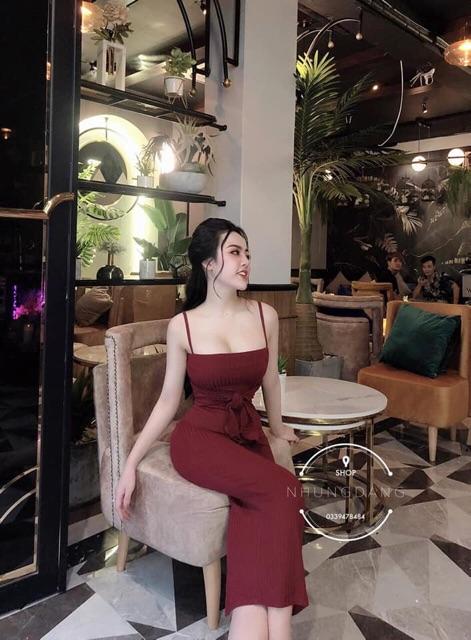 Váy Body 2 Dây Ngang Phối Dây Nơ - Siêu Phẩm 110cm