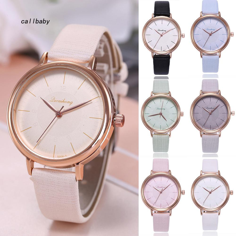 🔥CABY🔥Fashion Thread Pattern Round Dial Faux Leather Band Women Quartz Wrist Watch