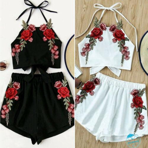 AydღNewborn Toddler Baby Girl Off Shoulder Embroidery Tops Shorts Outfits Set Infant Clothes