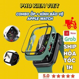 Ốp Apple Watch Silicon kèm kính cường lực đồng Hồ Thông Minh iWatch 1 2 3 4 5 6 SE T500 Size 38/40/42/44 - Phụ Kện Việt