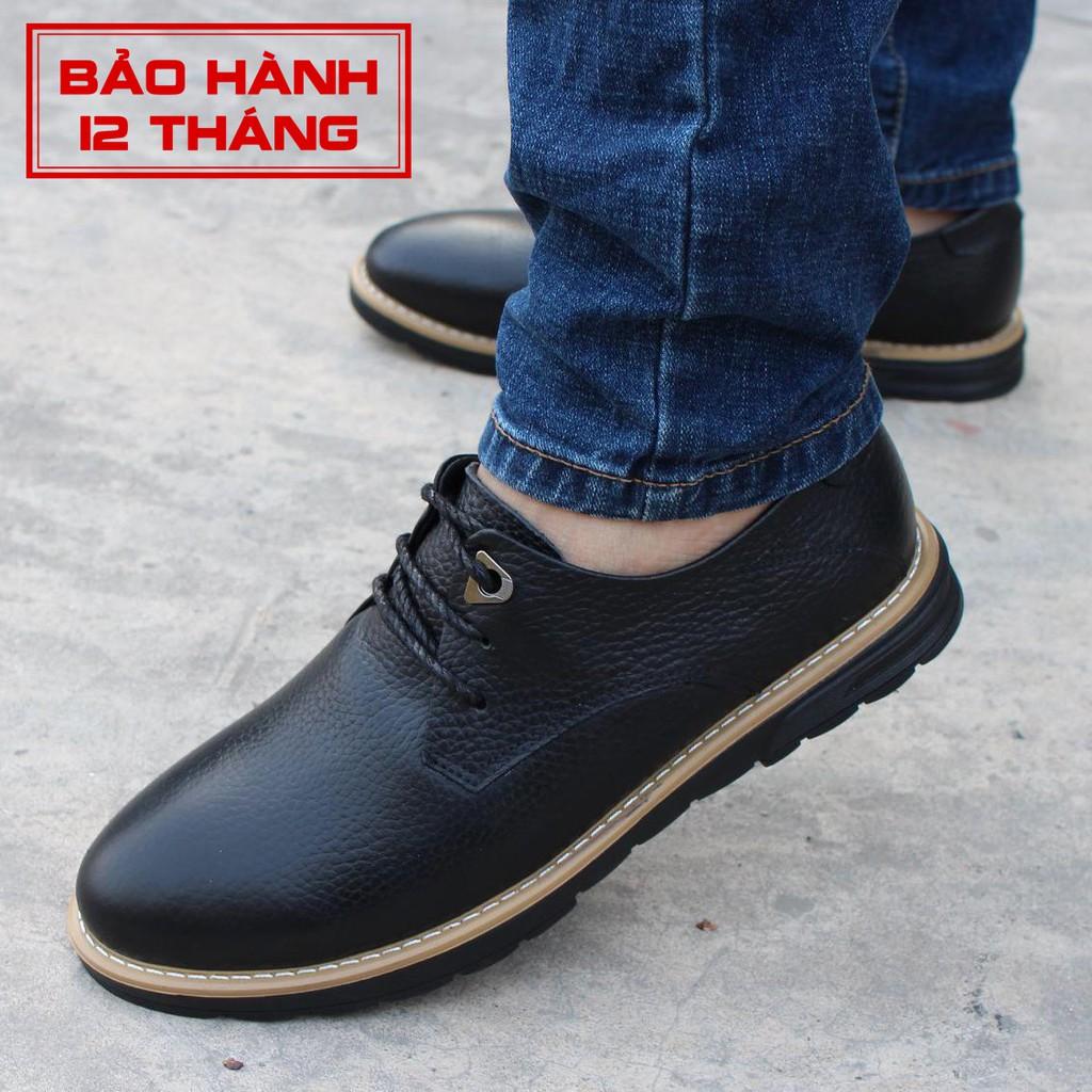 Giày Da Nam Đẹp Giá Rẻ ZD18 Màu Đen - Giày Da Bò Thật Trẻ Trung Bảo Hành 12 Tháng